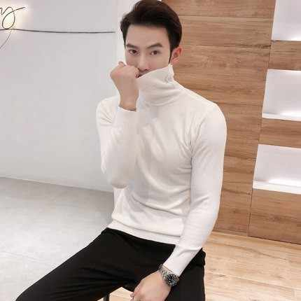 2018 Autumn New Men's Turtleneck Sweaters Male Black Gray Sexy Slim Fit Knitted Pullovers Solid Color Casual Sweaters Knitwear