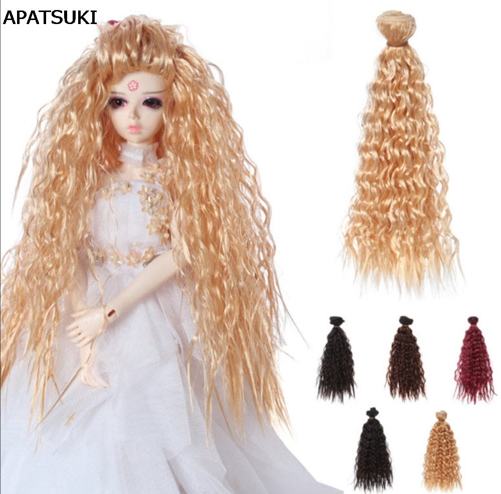 1pc 25cm*1m Doll Wigs DIY Doll Hair Curly Hair Wavy Wigs Golden Wine Brown Color Hair For 1/3 1/4 1/6 BJD SD doll