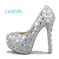 Crystal Rhinestone Women Wedding Shoes White Bridal Shoes Big Size 41 43 High Heel Shoes Platform