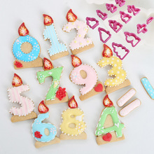 цена на 12 Pcs Number Candle Fondant Cake Mold Biscuit Cookie Cutter Mould Cake Decorating Tools Plastic Pastry Tool Sugarcraft