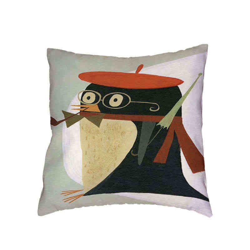 Estilo simples almofada definir animal dos desenhos animados fox pássaro preguiçoso chapéu 45X45 cm mobília da sala sofá de pele de pêssego decoração do escritório travesseiro