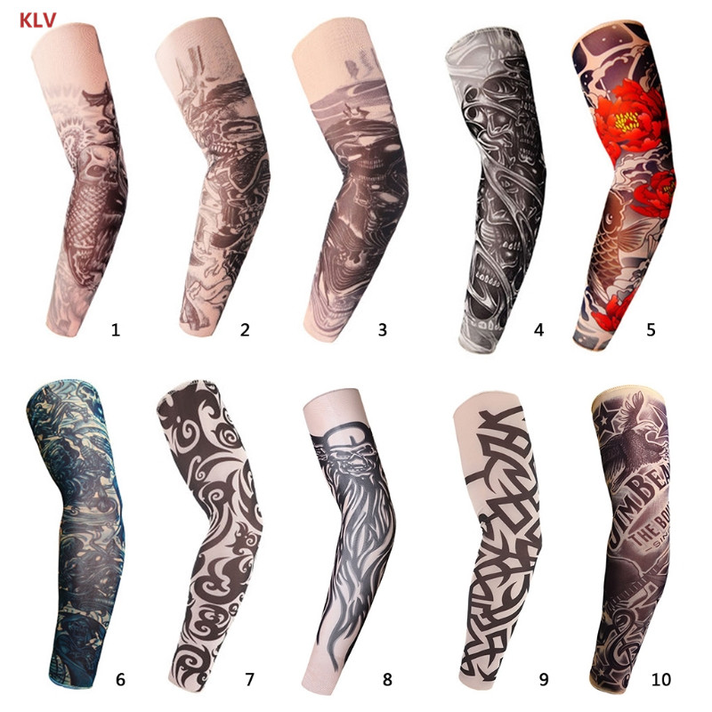 KLV Body Art Tattoo Arm Sleeve Cover Travel Driving Sport Elbow Protectors Anti-UV