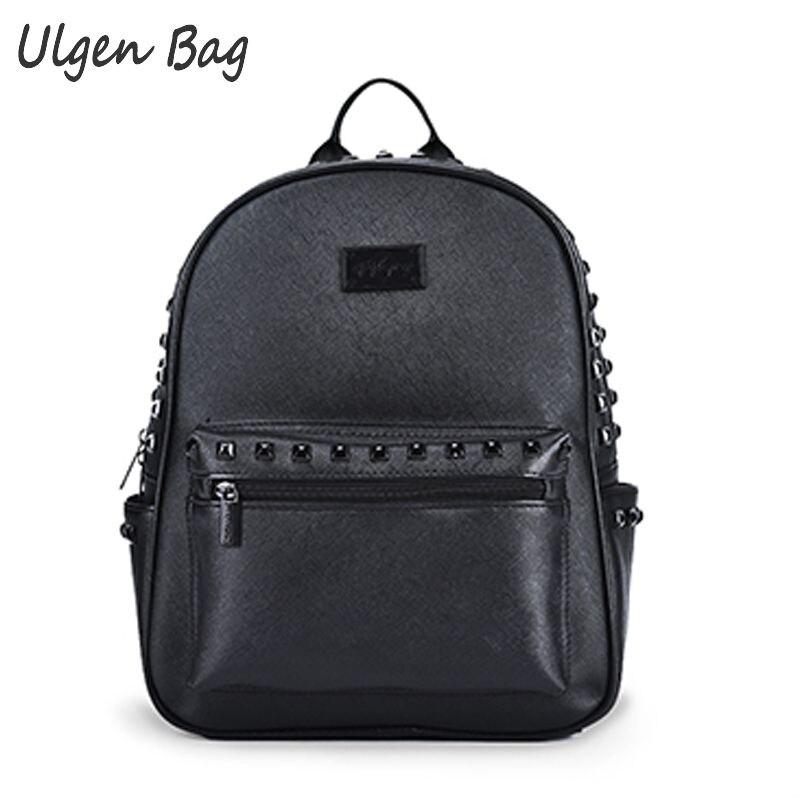 Fashion Black PU Leather Womens rivet backpacks Cool Teenage Girls Rivet School Bags Casual daypacks