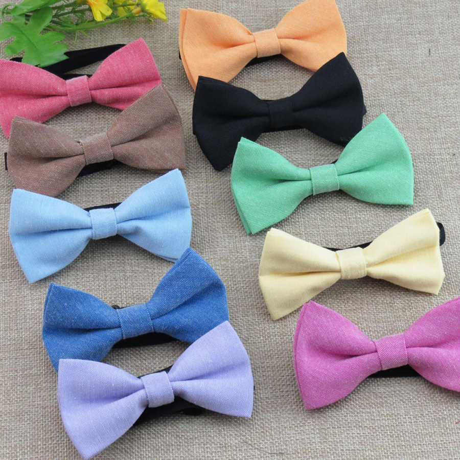 New Children Cotton Bow Tie Classic Kid Boys Grils Ties Baby Fashion Accessories Candy Solid Color Red Black Blue Pets Bowtie