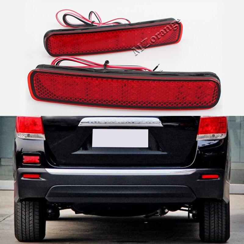 2 Pcs/set Car-styling 12V 6W Rear Bumper Lamp For Toyota Highlander 2011 2012 2013 LED Turn Signal Warning Brake Light reflector
