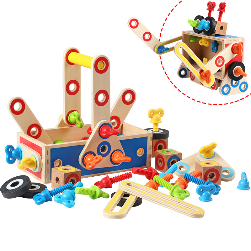 Childrens Educational Toys Wooden Disassembly Nut Assembly Variety Tool Box Assembly Car/Robot Magical Assembly Game Kids Gift