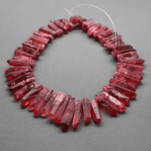 Approx 58pcs/strand Natural Red AB Quartz Crystal Point Pendant Rough Top Drilled Spike Gem Beads Crystal Necklace