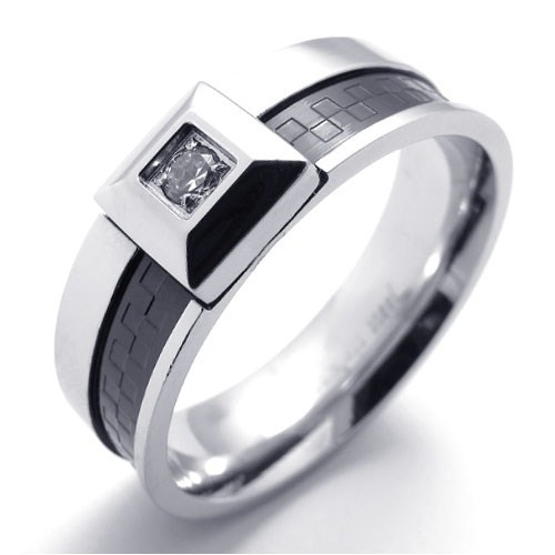 punk accessories titanium stainless steel ring black silver g grain clear cz diamond men rings wedding - Black And Silver Wedding Rings
