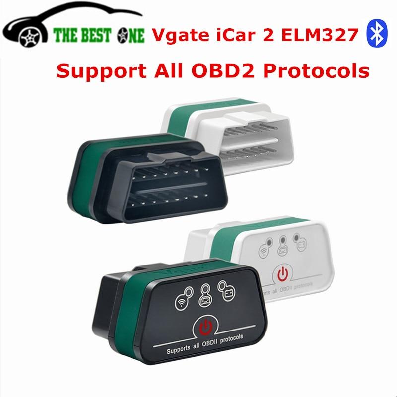 Prix pour 2017 Vgate iCar2 ELM327 V1.5 Bluetooth OBD OBD2 Diagnostic Scanner ELM327 V1.5 Tous OBDII iCarII Interface De Diagnostic Lecteur de Code