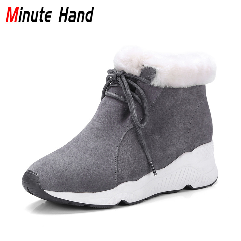 Minute Hand Fashion Genuine Leather Sheepskin Fur Snow Boots Women Warm Winter Casual Ankle Boots Lace Up Hidden Heel Wedge Shoe tie up pompons hidden wedge snow boots