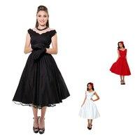 0069-wholesale 50 s pin - up rétro vintage rockabilly femmes mode coton swing party thé longueur robe de jour en noir / blanc / rouge