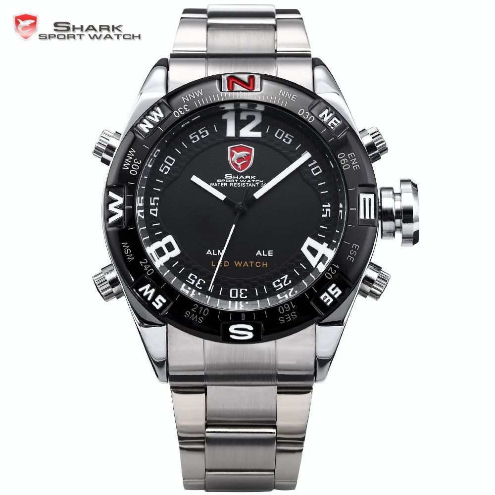 SHARK Sport Watch Brand LED Dual Time Alarm Stainless Steel Relogio Men Quartz Military Erkek Kol Saati Digital Montre / SH102 top brand luxury digital led analog date alarm stainless steel white dial wrist shark sport watch quartz men for gift sh004