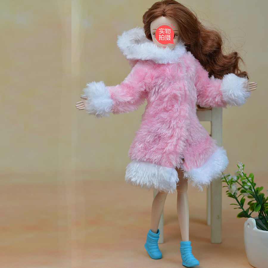Pink & White Winter Heat Fur Coat Gown Garments For Barbie Dolls Fur Doll Clothes For 1/6 BJD Doll Youngsters Toy Doll Equipment