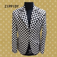 Black White Plaid Men Suit ( Jacket+Pant ) Male Singer Nightclub Bar Costumes Set Bighearted Slim Stage Performance Outfit Wear
