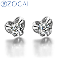 ZOCAI NATURAL 0.28 CT CERTIFIED H /SI DIAMOND WEDDING EARRINGS EAR STUDS ROUND CUTJEWELRY JEWELLERY 18K WHITE GOLD E00120