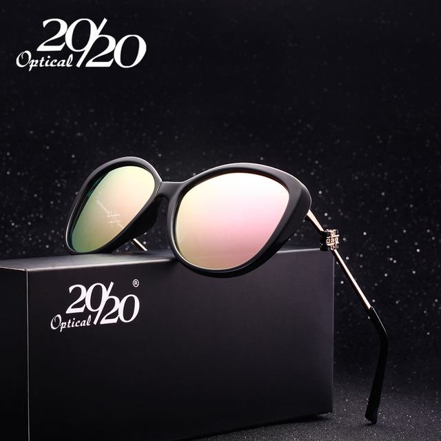 Luxury Vintage Cat Eye Polarized Sunglasses Women Brand Designer Shades Rhinestones Eyewear Female Retro Sun Glasses 7074