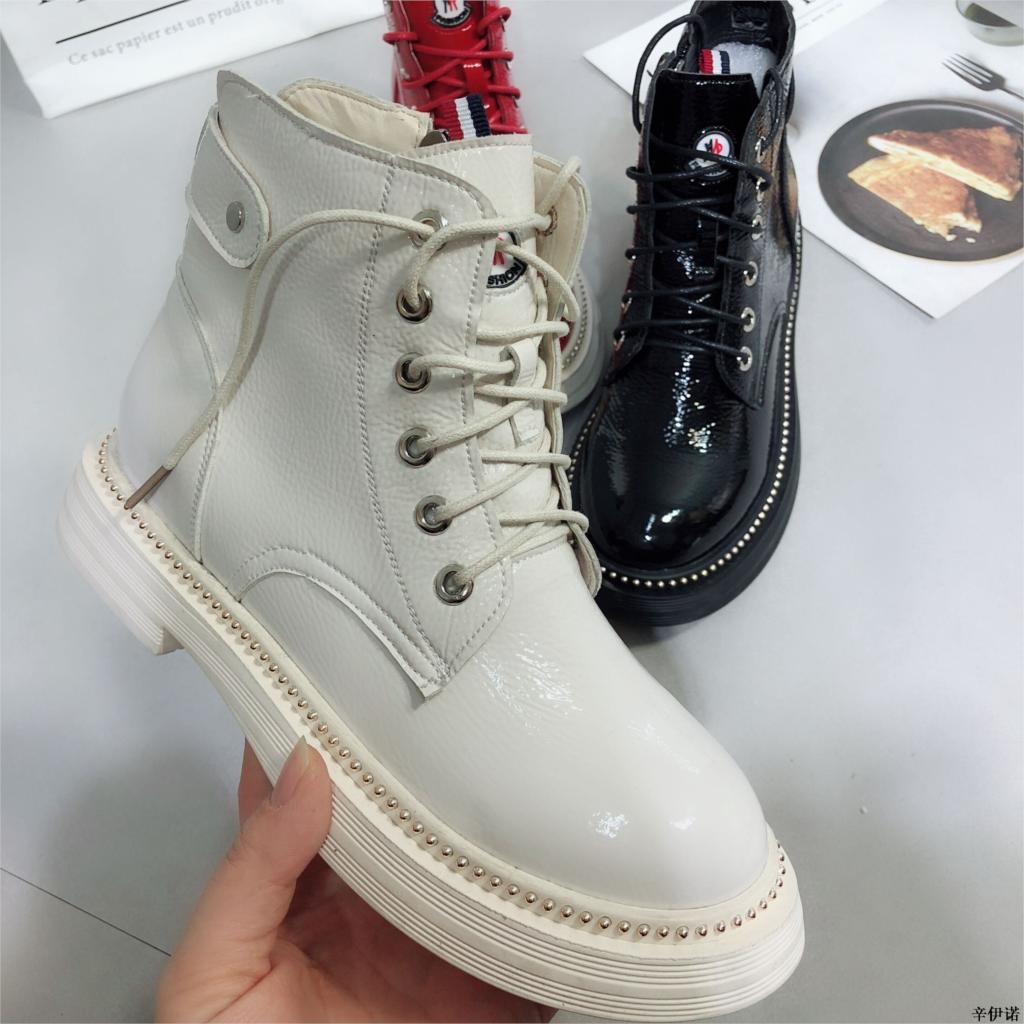 2018 New Women Ankle Boots Flat Heels Casual Shoes Female Patent Leather Boots School Style For Girls Black Motorcycle