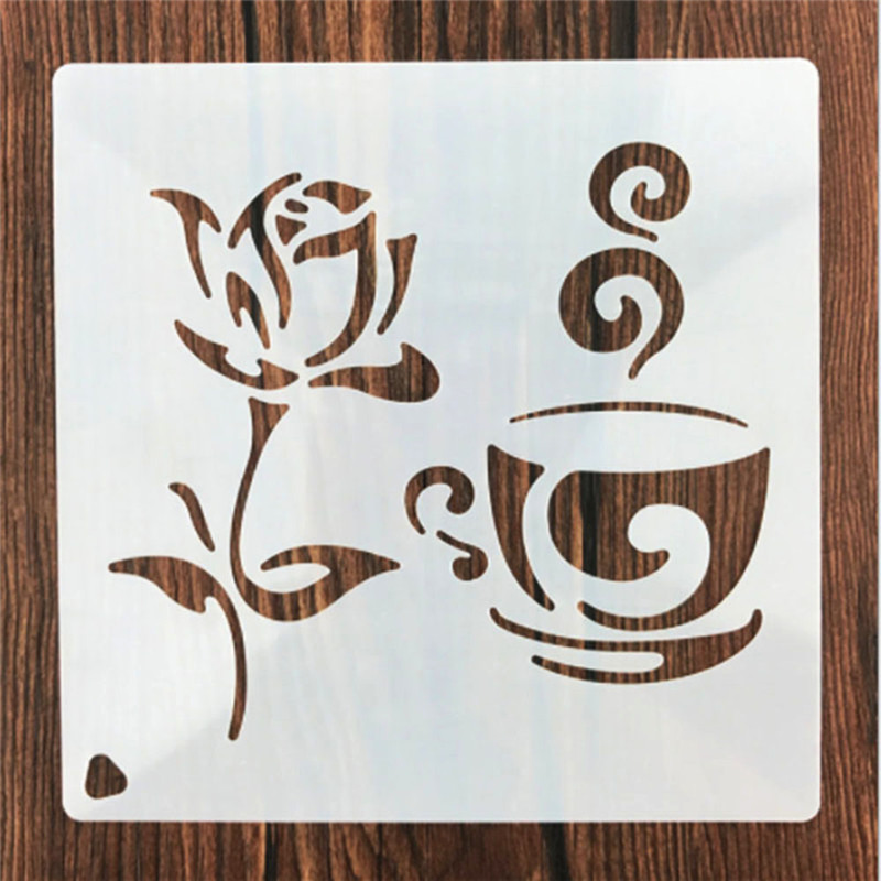 1Pcs Reusable Coffee Rose Flower Shaped Stencil DIY Stencil For Painting Home Decor Album Crafts Drop Shipping