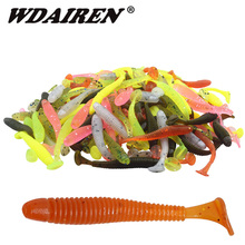 50Pcs Worm Soft Lure Fishing Lure 0.7g 47mm Swimbait Wobblers Artificial Silicone T tail bait Leurre Souple Shad Fishing tackle