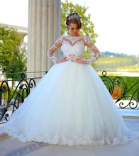 Elegant Ball Gown Long Wedding Dresses Beautiful Lace Long Sleeves See Through Bride Dress vestidos de novia