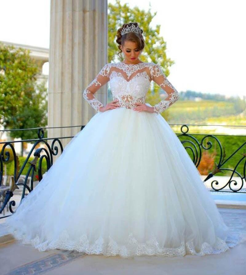 Elegante Vestido De Bola Larga Vestidos De Novia Hermoso
