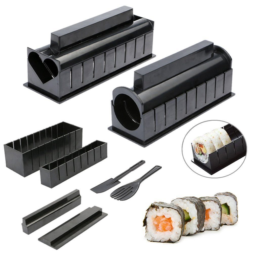 10pcs Pack Sushi Making Kit New DIY Easy Sushi Maker Machine Set Rice Roller Mold Roller Cutter Kitchen Cooking Tools