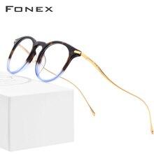B Titanium Acetate Optical Glasses Frame Men Vintage Prescription Eyeglasses 2019 Women Retro Round Myopia Spectacle Eyewear 857