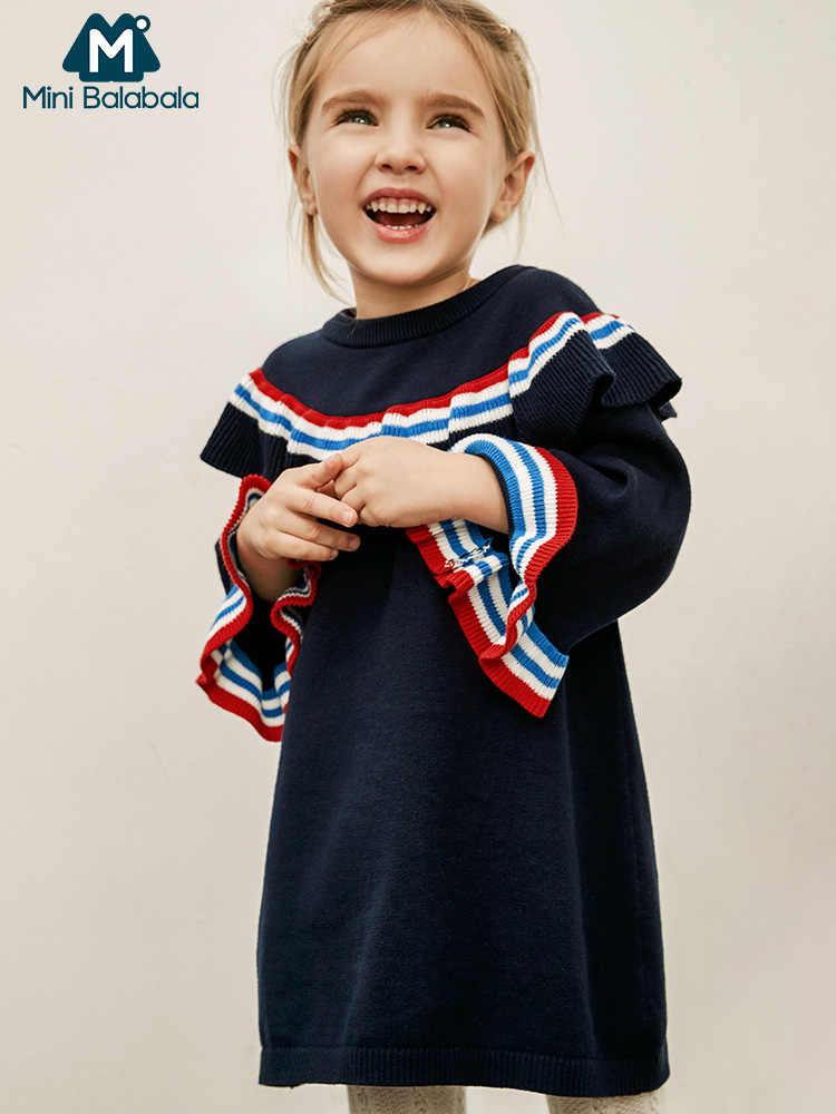 MinibalabalaGirls/Хлопковое платье Новинка 2019 года; весенняя одежда для маленьких детей в студенческом стиле вязаные хлопковые платья с длинными рукавами