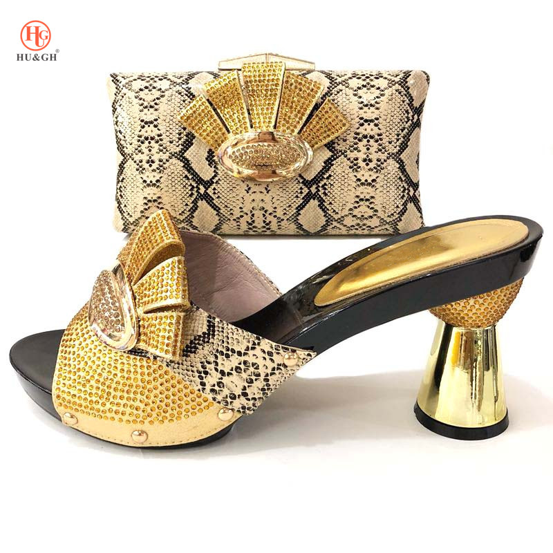 African Italian Shoes and Bag Set Gold Color Matching Women Shoes and Bag Set Wedding Party Summer Sandal Nigerian Shoes and Bag new african elegant gold color shoes and bag to match set nigerian italian high heels party shoes and bag set for wedding dress
