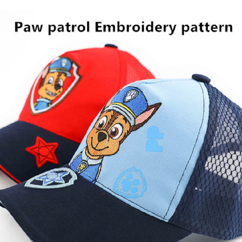 Paw patrol cap 2019 children gift Patrulla Canina summer cartoon character Velcro mesh baseball cap in Action Toy Figures from Toys Hobbies