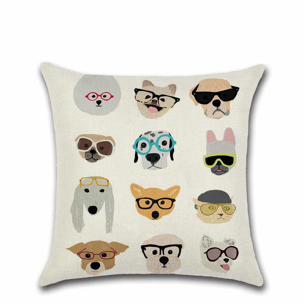 ダックス動物プリント枕カバークッションカバーリネンの模造リネン枕カバー Cojines Decorativos パラソファ