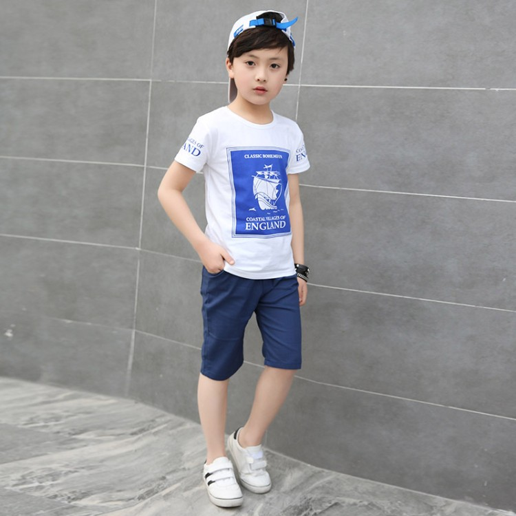 Children Boys Clothing Set Cotton Summer Navy Blue Red Pullover Boat Print T Shirt Shorts Boy Sports Suit 5-13years Tracksuit
