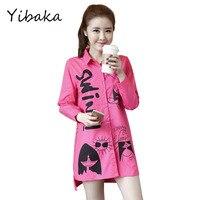 Yibaka XXXL 4XL 2017 Plus Size Women Shirt Autumn Fashion Full Sleeve Lapel Personality Pattern Shirt