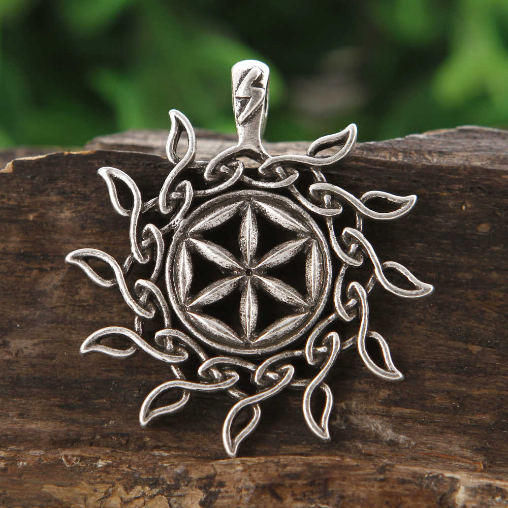1 pc Vintage Slavic Amulet Colo Perun ดอกไม้วงกลมจี้นอร์สไวกิ้ง Talisman เครื่องประดับ