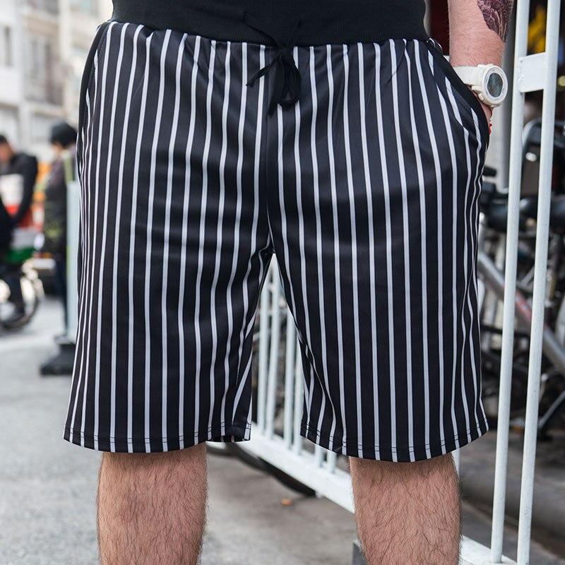 Large size mens plus fertilizer increase short Summer straight Loose mens casual stripes Korean shorts Size 3XL 4XL 5XL 6XL