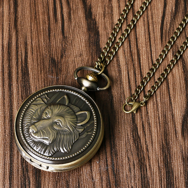 Antique Style Cool Bronze Vintage Gundog Dog Wolf Chain Pendant Necklace Men Women Gift Relogio De Bolso