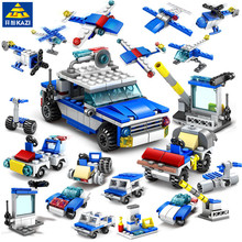 цена на 16IN1 City Police Playmobil Car Building Blocks Sets Truck Construction Bricks Educational Toys For children
