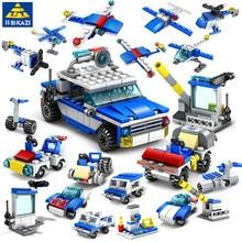16IN1 City Police Playmobil Car Building Blocks Sets Truck Construction Bricks Educational Toys For children