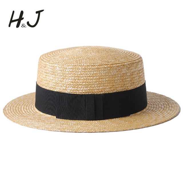 f9100f4f571 100% Wheat Straw Summer Women Boater Beach Sun hat For Elegant Lady Queen  Ribbon Round Flat Top Homburg Fedora Hat Good Package