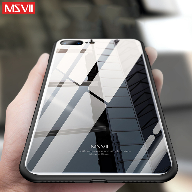 Terbaru Msvii Case untuk iPhone 7 Plus 7 Plus Mewah Tempered Glass Back  Cover + TPU a9c0201907