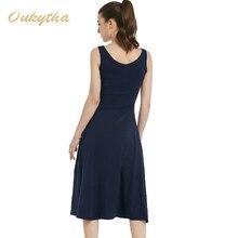 OukythaSummer Dress 2017 Korean Fashion Slim Woman Dress Sexy High Waist Sleeveless Vintage Dress Casual Cotton Long DressQ16187