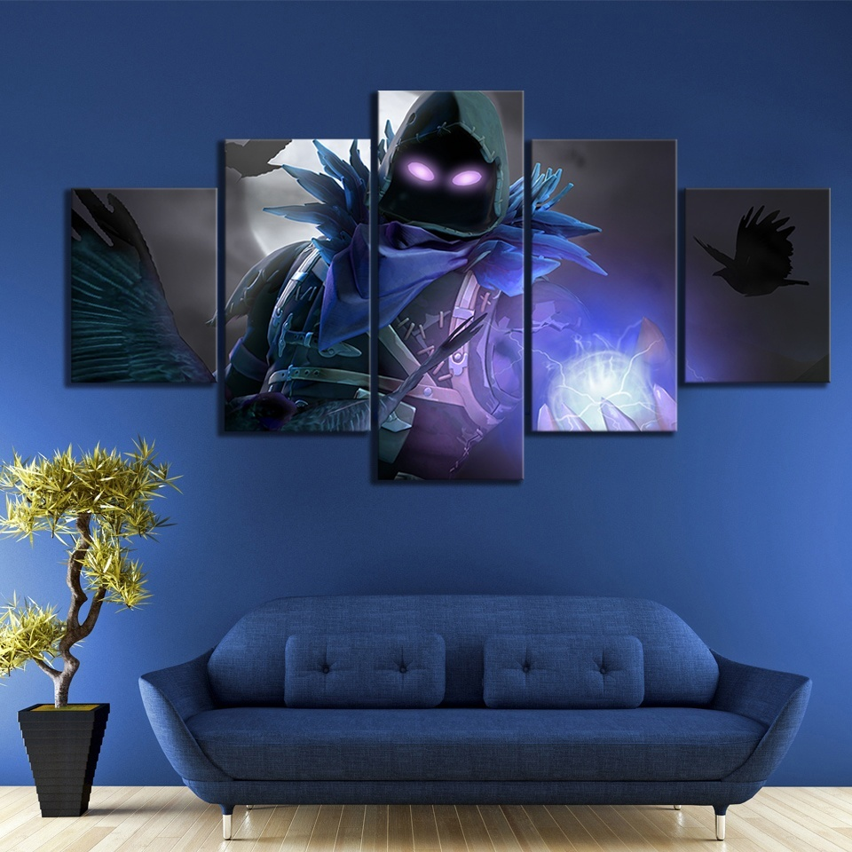 5 Piece Fortnight Battle Royale Map Video Game Poster Fort Pictures Landscape Wall Art for Living