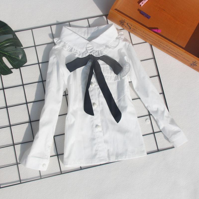 0295b2585 € 12.8 |Blusas blancas uniformes escolares para niños pequeños dibujos  animados estudiantes camisetas de fiesta de algodón de manga larga ...