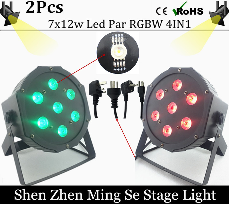 ФОТО EU free shipping 2pcs /lot  7x12w led Par lights  RGBW 4in1 flat par led dmx512  disco lights professional stage dj equipment