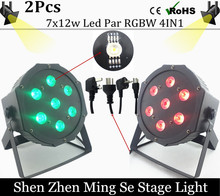 EU free shipping 2pcs /lot  7x12w led Par lights  RGBW 4in1 flat par led dmx512  disco lights professional stage dj equipment