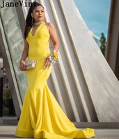 JaneVini Simple Evening Dress Yellow Black Girls Mermaid Women Long Dress Evening Elegant Backless Sweep Train V Neck Party Gown