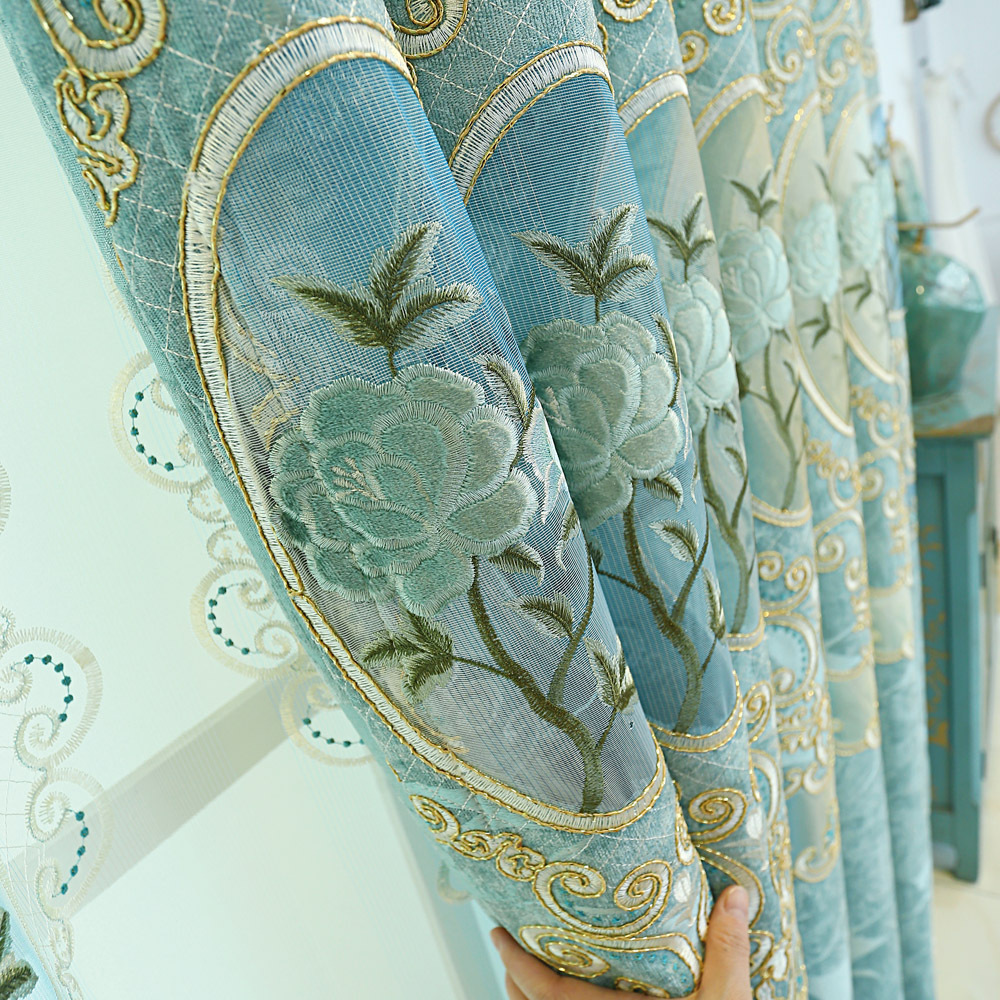 European-style Chenille Embroidered Curtain For Living Room Bedroom Custom Curtain Curtain Screen Finished Garden Flowers