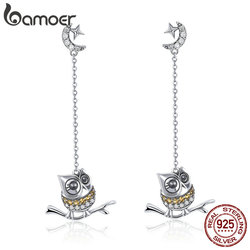 BAMOER Authentic 925 Sterling Silver Cute Owl Long Chain Drop Earrings for Women Moon Clear CZ Sterling Silver Jewelry SCE396