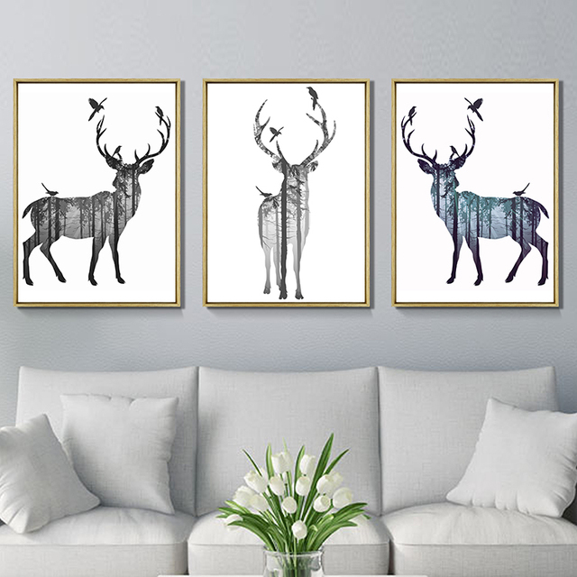 3 PCS Nordic Deer Birds Canvas Wall Art Picture for Living Room ...