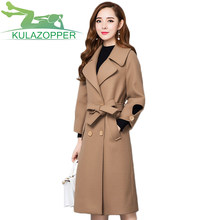 Coats Winter Coat Autumn Winter New Women's Jacket Knee Over Receive Waist System Band Long Paragraph Coat Female Outwear Lx212(China)